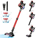 Cordless Vacuum Cleaner,20Kpa Powerful Suction Home Stick Vacuum Cleaner Lightweight 4 in 1 HEPA Filter,PRETTYCARE Handheld Vacuum with 2600mAh Detachable Battery for Pet Hair Carpet Hard Floor W100