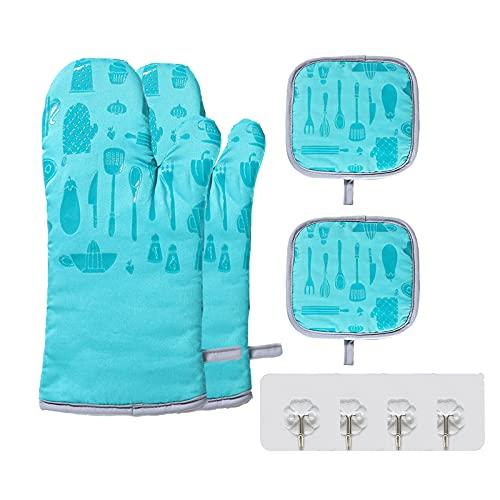 4er Blau Topflappen Set, Hitzebeständige 300°Antirutsch Ofenhandschuhe Lang,Oven Mitts Benutzt für Backofen Kochen Kitchen Gloves(Mit 4 Haken)