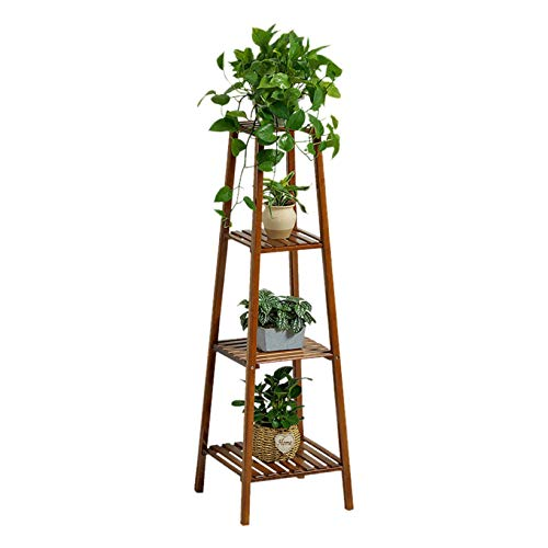 4-Tier Planter Rack - Bamboo Plant Stand Planter Rack Flower Pots Holder Disply Rack Indoor Outdoor, Patio Garden Rustic Wood Stand with Shelves, Shelving Unit for Corner Balcony Living Room (Brown)