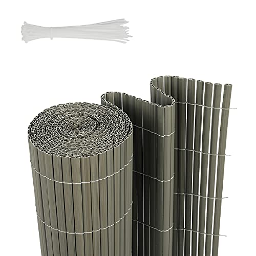 Sekey PVC Recinzione Frangivista Decorativa per Giardino, Balcone e terrazza, Anti-Muffa, Resistente agli Agenti atmosferici, con Superficie Strutturata, con Fascette, 90 x 500 cm, Grigio