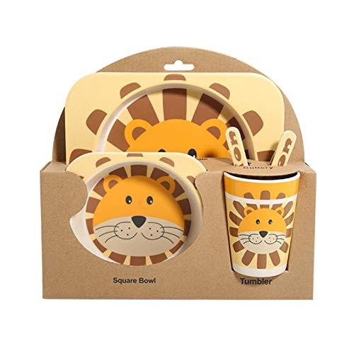 Matedepreso Juego de vajilla de fibra de bambú para niños de dibujos animados vajilla de 5 piezas con 4 patrones de animales placa de alimentos tazón taza cuchara tenedor conjunto
