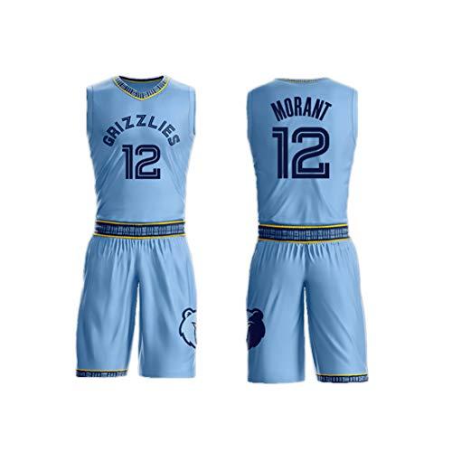 Jungen Herren Trikotanzug Ja Morant Nr. 12, geeignet für Memphis Grizzlies Kinderbasketballuniform, atmungsaktives, schnell trocknendes Trikot-Blue-XS