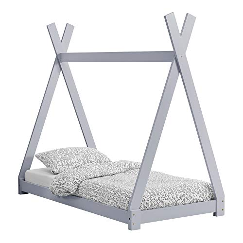 [en.casa] Cama para niños 80 cm x 160 cm Cama Infantil Estructura Tipi de Madera Pino Gris Claro