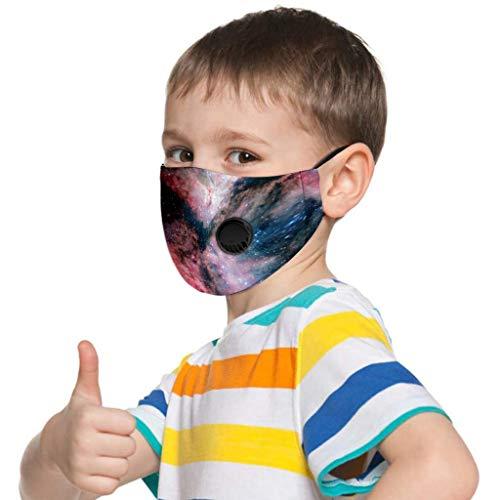 PPangUDing Mundschutz Kinder Baumwolle mit Ventil Atmungsaktive Staubdicht Wiederverwendbar Waschbar Motiv Bunt Multifunktional Halstuch Schlauchschal Multifunktionstuch für Junge und Mädchen