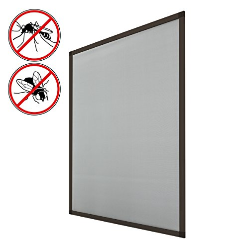 ECD Germany Mosquitera para Ventana 130x150 cm Resistente a la Intemperie con Tela de Fibra de Vidrio y Marco de Aluminio Color marrón