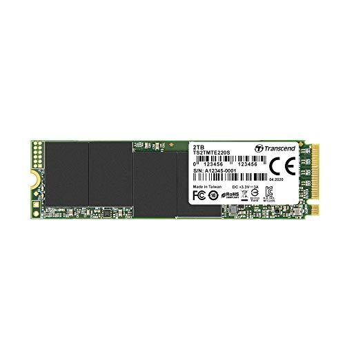 Transcend TS2TMTE220S 2TB M.2 Ultra-Highspeed SSD für High-End-Anwendungen (Gaming, digitale Audio- und Videoproduktionen etc.), schnelle Übertragung bis zu 3.500/2.700 MB/s, PCIe Gen3 x4, 2280