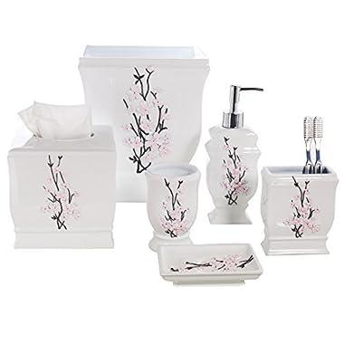 Creative Scents Vanda 6- Piece Bathroom Accessories Set- Includes Decorative Soap Dispenser/Soap Dish/Tumbler/Toothbrush Holder/Tissue Cover/Wastebasket (White)