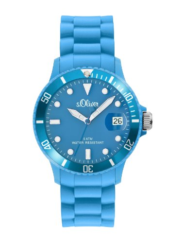 s.Oliver SO-1993-PQ - Reloj Unisex de Cuarzo, Correa de Silicona Color Azul Claro
