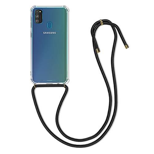 kwmobile Schutzhülle kompatibel mit Samsung Galaxy M30s - Hülle mit Kordel zum Umhängen - Silikon Handy Hülle Schwarz Transparent