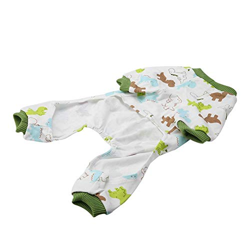 DAUERHAFT Perro Gato Disfraz casero Perro Cachorro Pijamas de Dibujos Animados Lindo patrón de Dibujos Animados,(SY04 Dinosaur, M)