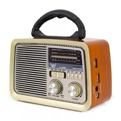 Rádio Retrô Portátil Mp3 Usb Cartão Sd Am Fm C/bluetooth (Marrom)