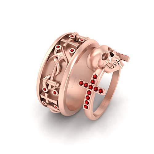 Anclaje náutico de cuerda gótica, cráneo de Santa Cruz, anillo de compromiso a juego para él y ella, oro rosa sólido de 18 quilates