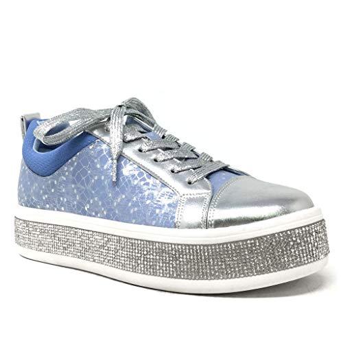 Angkorly - Damen Schuhe Sneaker - Bowling - Plateauschuhe - Straße - Strass - Blumen - Glänzende Keilabsatz high Heel 4 cm - Blau 3850-6 T 39