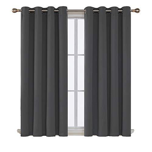 Deconovo Cortinas Salón Opacas Aislantes Termicas para Habitación de Color Liso con Ojales 2 Piezas 117 x 138 cm Gris Oscuro