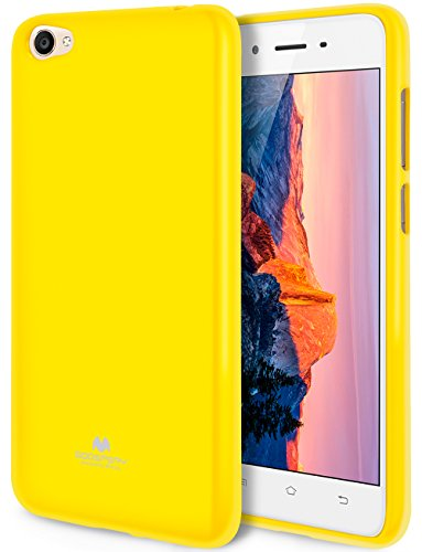 Goospery Pearl Jelly for Vivo Y55 Case with Screen Protector Slim Thin Rubber Case (Yellow) VIVOY55-JEL/SP-YEL