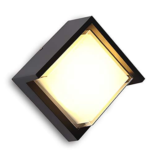 LED Außenleuchte 12W/ Quadrat Wandleuchten ,Außenwandlampen ,Aluminiumgehäuse/ IP65 Wasserdichte,Indoor und Outdoor Universal,Warmweißes Licht(3000K)