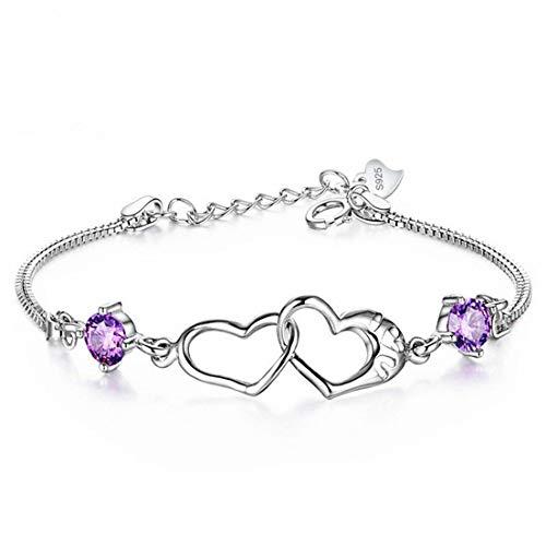 #N/A Pulsera con colgante de corazón doble con diamantes de imitación, simple y elegante, exquisita cadena de serpentina, joyería para mujeres y niñas, regalo de cumpleaños, color morado