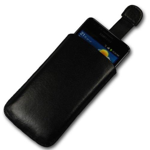 Handycop® Easy Out Leder Etui A Schwarz mit Ausziehhilfe - Tasche Hülle für Huawei Ascend Y300