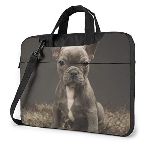 Baby French Bulldog Cute Puppy Laptop Shoulder Messenger Bag, 14 Inch Notebook Sleeve Carrying Case with Trolley Belt for Lenovo Acer Asus Dell Lenovo Hp Samsung Ultrabook Chromebook