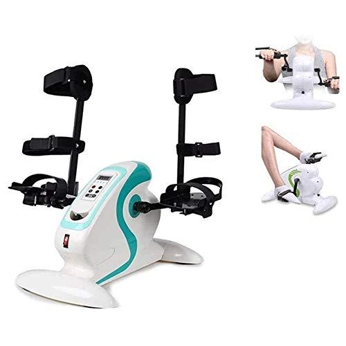 TQJ Maquina de Pedales Sentada Debajo del escritorio pedal de bicicleta ejercitador bicicleta portátil Mini brazo y la pierna Ejercicio Ciclo con pantalla LCD, Terapia Física Inicio hemiplejía Rehabil