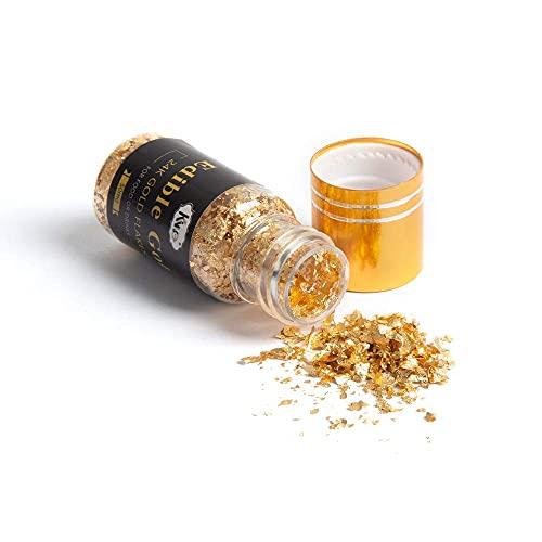KINNO Essbare Blattgold Flocken 24 Karat Gold Streuer zum Basteln Lebensmittel Kuchen Backen Dekorfolie Künstlerbedarf