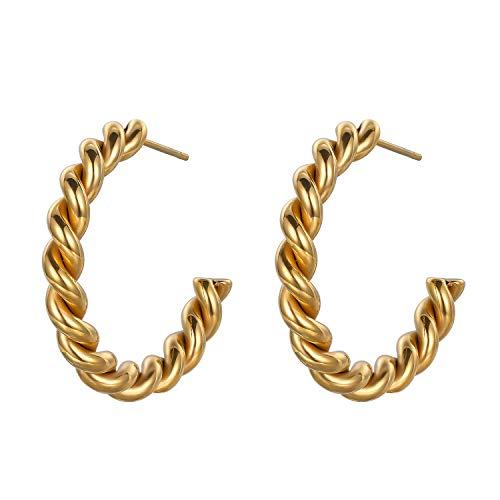 Pendientes de aro remi trenzados para mujer, chapados en oro de 18 quilates