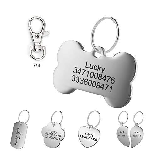 LYL Etiquetas de identificación de Mascotas de Acero Inoxidable Etiquetas de Perro Personalizadas Personalizadas Grabado Frontal/Posterior para Gato y Perro con Diferentes Formas