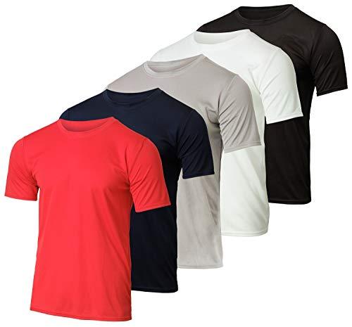 5 Pack:Boys Mesh Crew T-Shirt Girls Youth Teen Active Wear Athletic Quick Dry fit Dri-Fit Moisture Wicking Performance Basketball Gym Sport Short Sleeve Undershirt Tee Raglan Top -Set 5,Large 12-14