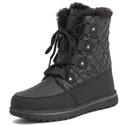 Polar Products Womens Quilted Short Faux Fur Snow Waterproof Winter Durable Warm Boots - 8 - BLK39 AYC0523