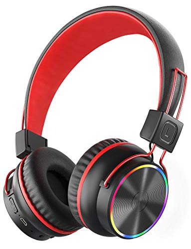 PeohZarr Kids Wireless Headphones with Microphone, LED Light Up 94dB...