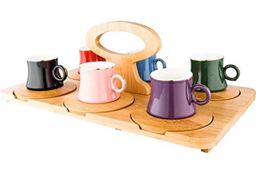 Dekonaz | Espressotassen Set | Mokkatassen | mit Serviertablett und Untertassen | Bambu | 13 Teilig | 6 Personen | Bunt |
