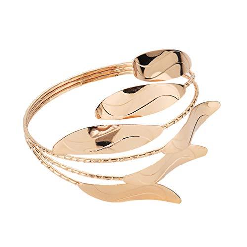 Happyyami Roman Lorbeer Blatt Armband Gold Armband Öffnung Oberarm Manschette Armreif Arm Armreif Punk Stil Arm Ring Frauen Dame Arm Ornament Zufällige Farbe