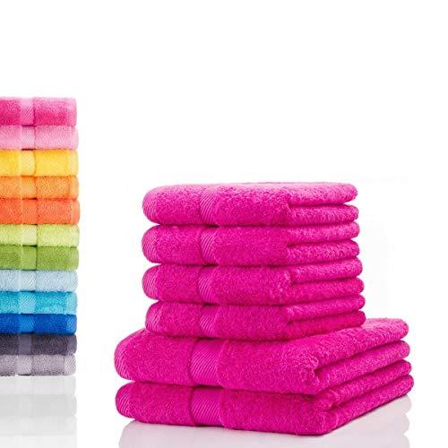 etérea Carli 6 TLG Handtuch Sparset 4X Handtücher, 2X Duschtücher - 100% Baumwolle und Oeko Tex Standard 100 - Qualitäts Frottierware 500 g/m² - Farbe: Pink
