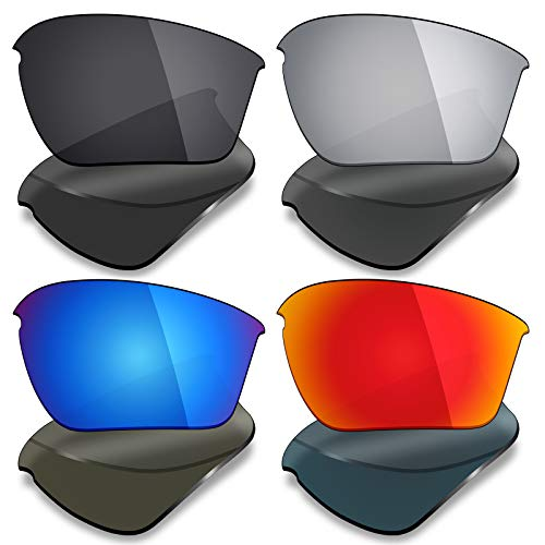 Mryok 4 Pair Polarized Replacement Lenses for Oakley Half Jacket 2.0 XL Sunglass - Stealth Black/Fire Red/Ice Blue/Silver Titanium