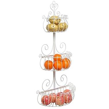 Wall Mounted Scrollwork Design Deluxe 3 Tier Cream Iron Fruit Basket / Kitchen Storage Rack - MyGift