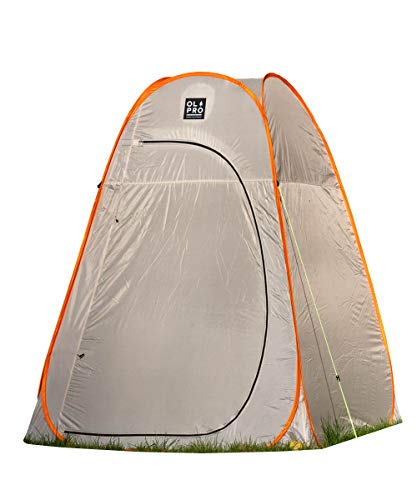 OLPRO Outdoor Leisure Products Extra Large Toilet Tent 1.6m x 1.6m Pop Up Camping Toilet Tent Grey & Orange
