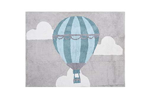 Aratextil. Alfombra Infantil 100% Algodón lavable en lavadora Colección globo gris 120x160 cms