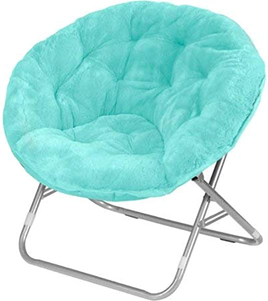 Luxury Padded Faux Fur Saucer Chair Light Blue With Toss Pillow