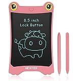 NEWYES 8.5 Tableta de Escritura LCD, Juguete Educativo para Aprender a Dibujar y Escribir. Regalo Ideal para niñas y niños. eWriter (Rosa/Trazos Multicolor) Incluye 2 Imanes y 2 Punteros