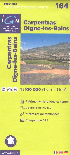Carpentras, Digne-les-Bains (Frankreich, Provence-Alpes-Côte d'Azur) 1:100.000 topographische Wander-, Rad-und Tourenkarte Nr. 164 IGN