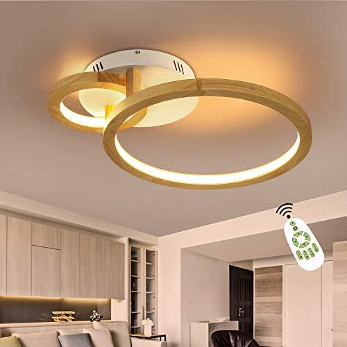 ZMH LED Deckenleuchte Holz Dimmbar Wohnzimmerlampe 52cm Ring Schlafzimmerlampe Modern Kronleuchter 37W Innen Deckenlampe mit Fernbedienung für Wohnzimmer Schlafzimmer Esszimmer Küche Flur und Büro