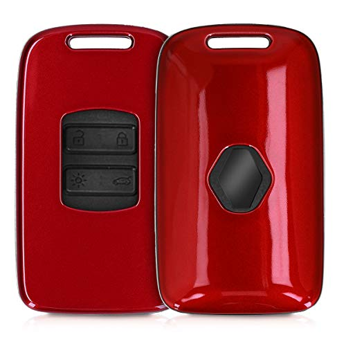 kwmobile Autoschlüssel Hülle kompatibel mit Renault 4-Tasten Smartkey Autoschlüssel (nur Keyless Go) - Hardcover Schutzhülle Schlüsselhülle Cover in Hochglanz Rot