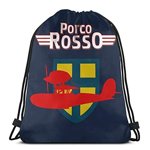 Bolsas con cordón Porco Rosso Logo Unisex Mochila con cordón Bolsa de cuerda Bolsa de deporte Bolsa grande con cordón Bolsa de Gimnasio Mochila a granel