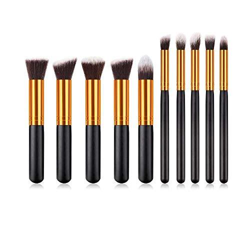 Fanxp® 10 pièces pinceaux de maquillage Set Nose Shadow Silhouette Brush Highlight Foundation Brush-Black