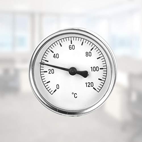 Lantelme Rohr Anlegethermometer mit Feder 0 bis 120 °C analog Thermometer für Heizung Klima Wasser Rohre 8160
