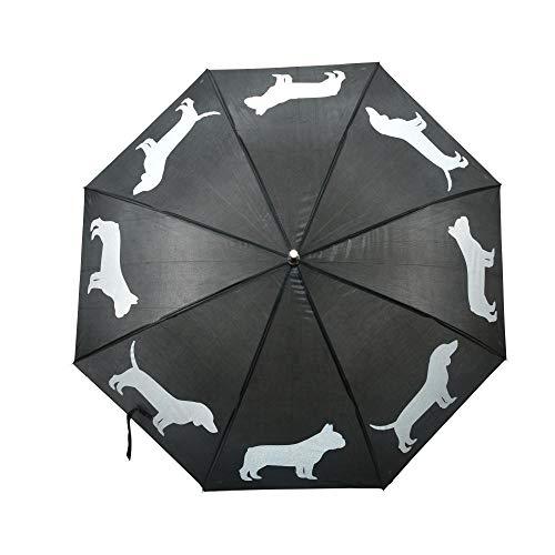 Esschert Design Regenschirm Reflektor Hunde aus Polyester, Ø 105 x 85,1 cm, schwarzer Polyester/weiße Hundefiguren, Kunststoffgriff,