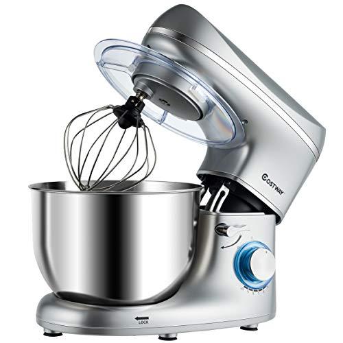 COSTWAY 1300W Küchenmaschine Knetmaschine, 5,5L Rührmaschine, 10-stufen Teigmaschine inkl. Schneebesen, Knethaken, Rührbesen und Spritzschutz(Silber)