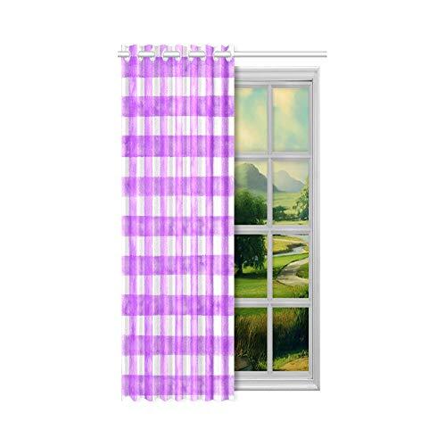 N\A Wohnzimmer Verdunkelungsvorhänge Girls 'Purple Checks Innenfenster Vorhang 132 x 160 cm (52 x 63 Zoll) 1 Panel Verdunkelungsvorhang Vorhang für Schlafzimmer Wohnzimmer