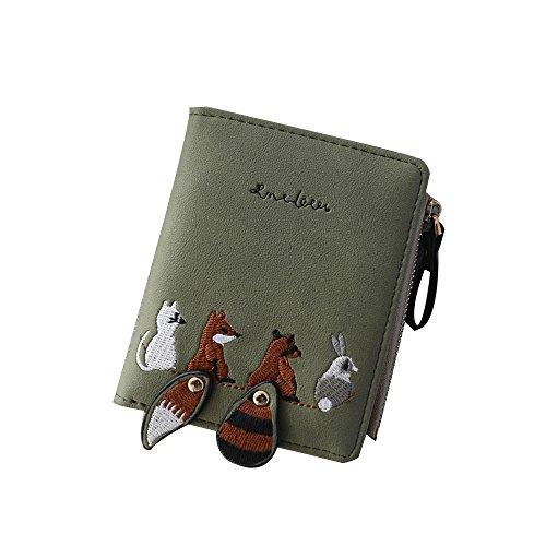 Skang Kurzer Absatz Clutch Brieftasche PU-Leder Lovely Fox Vielen Kartenfächer Mit Reißverschluss Geldbörse Geldbeutel Portemonnaie Börse Für Frauen Und Mädchen(Einheitsgröße,Grün)