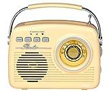LAUSON-LM Radio Vintage ANALOGICA con Altavoz Bluetooth AUXIN Lector USB/SD BATERIA Recargable/Red Color Crema